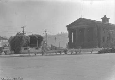 St. Johns fire station and bandstand, 1932: A2009-009.2609