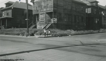 View of houses on the corner of N Larrabee Avenue and N Halsey Street, 1957: A2001-004.39